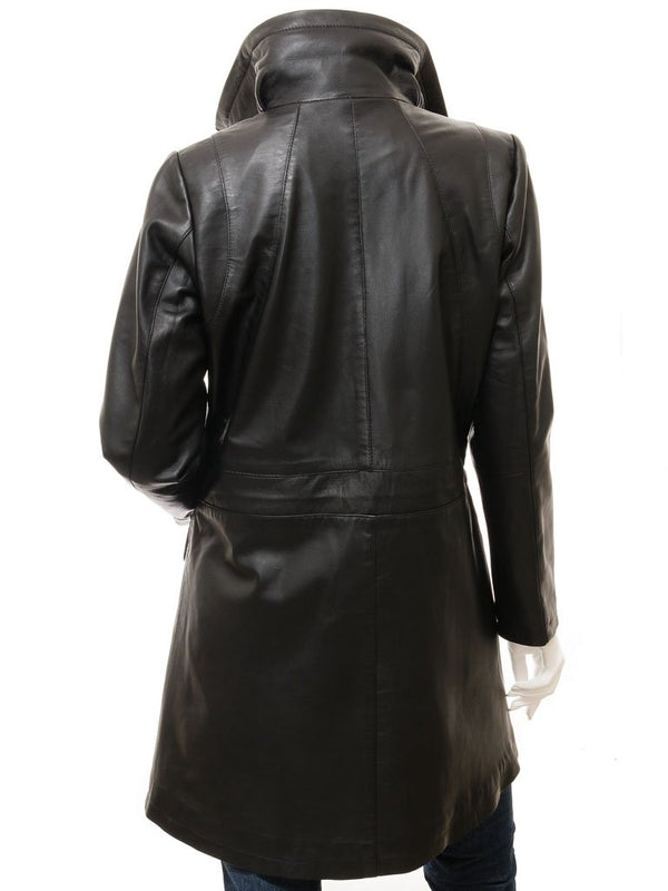 Women's 3/4 Knee-Length Leather Coat