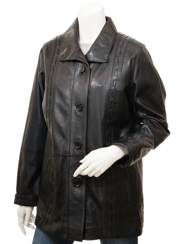 Women's Soft Leather Short 4 Button Swing Coat