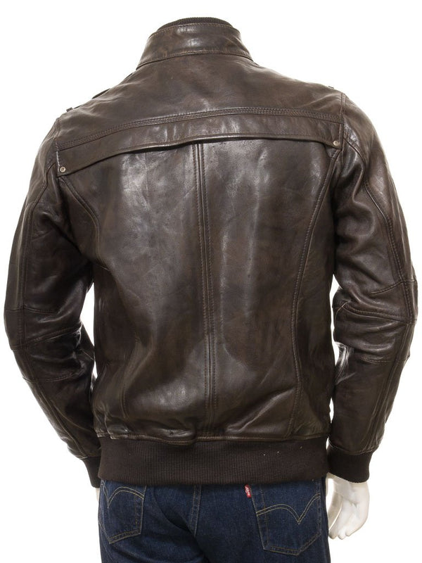 Men's Quilted Front 3/4 Brown Leather Bomber Jacket