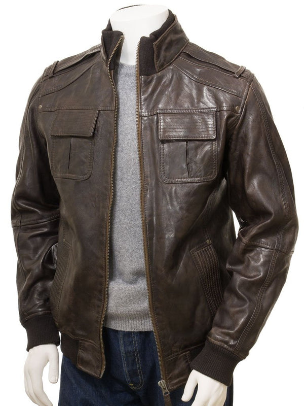 Men's Vintage Military Brown Leather Bomber Style Jacket