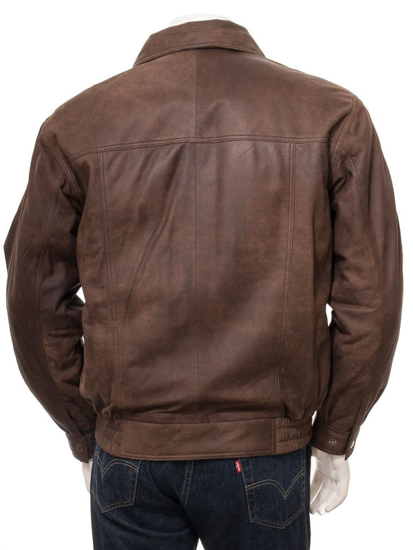 Men's Brown Leather Flight Aviator Bomber Jacket