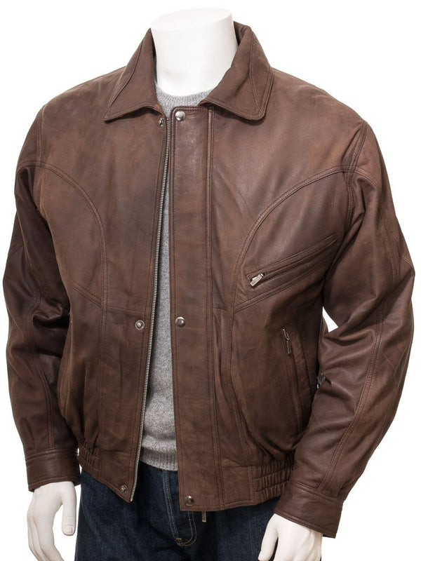 Brown Leather Aviator Flight Jacket