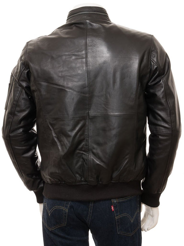 Men's Black Leather Single Collar Slim Straight Jacket