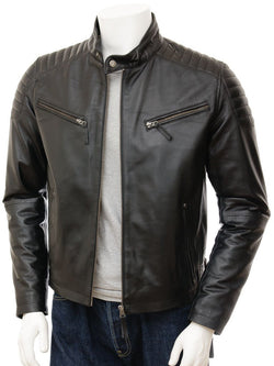 Men's Modern Cowhide Leather Biker Quilt Jacket