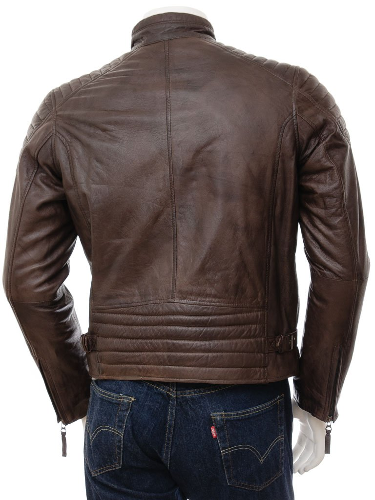 Men's Modern Leather Biker Quilt Jacket