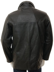 Men's 5 Button Leather Straight Jacket