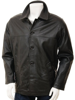 Men's 5 Button Leather Straight Jacket in Black Color