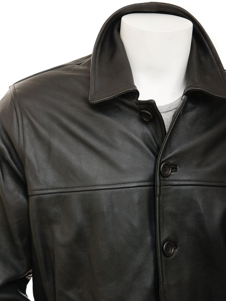 Leather 5 button straight jacket