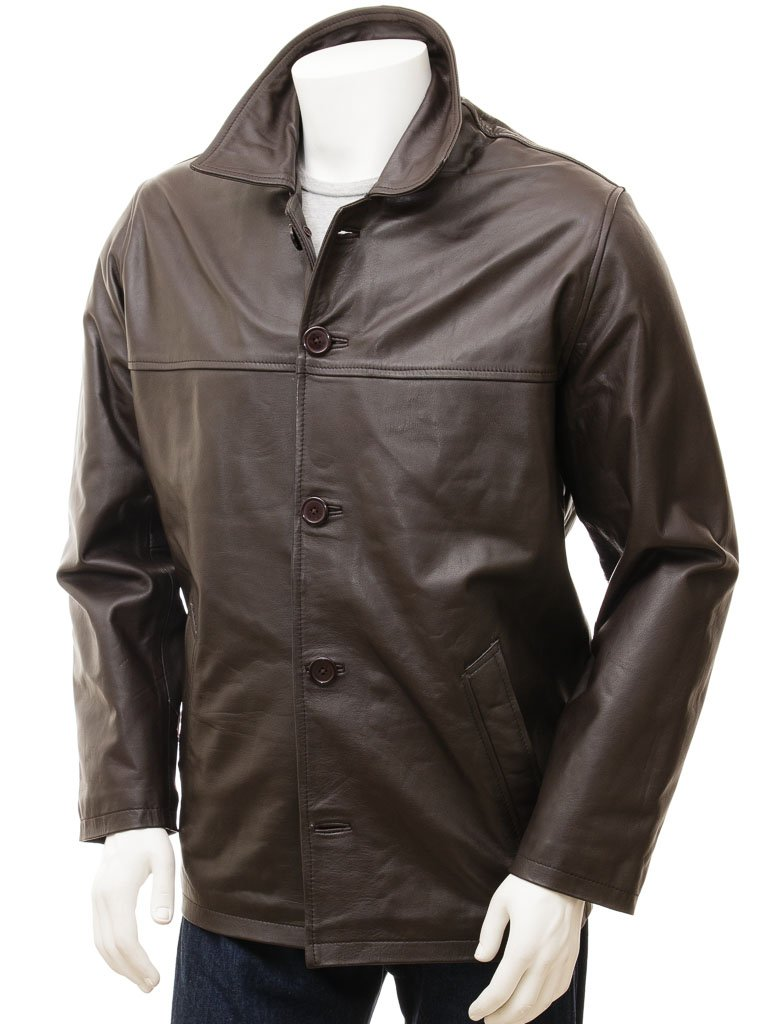 Brown 5 button Straight Leather jacket