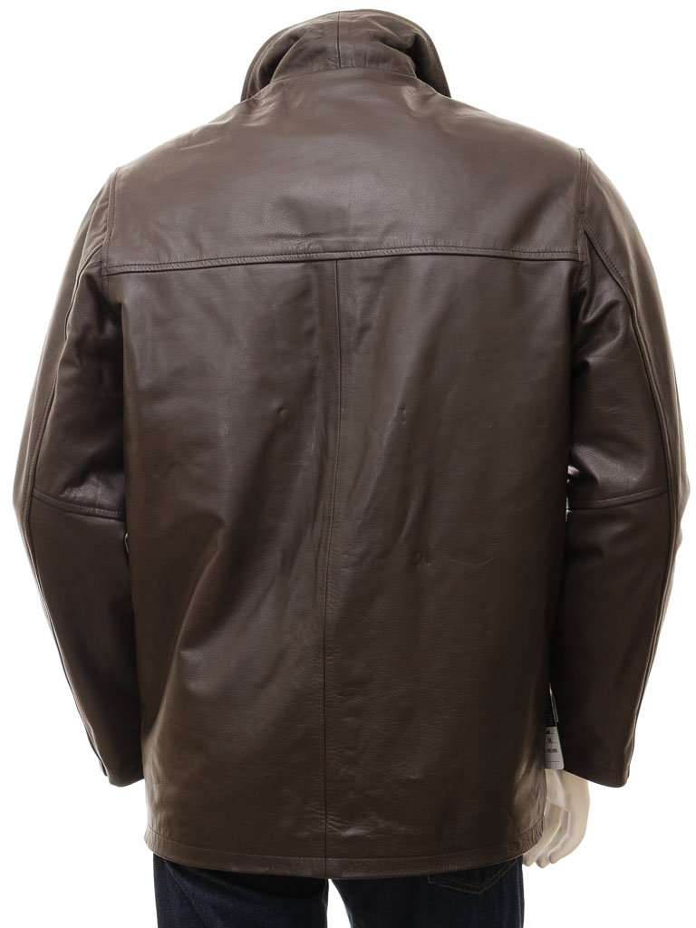 Brown Straight leather jacket