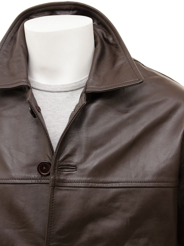 Men's 5 Button Leather Straight Jacket in Brown Color