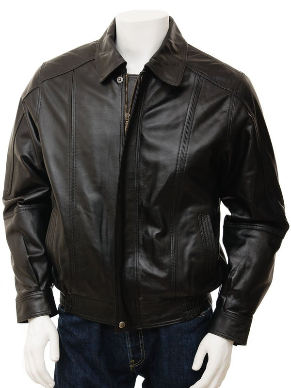 Classic Leather Bomber Aviator Jacket