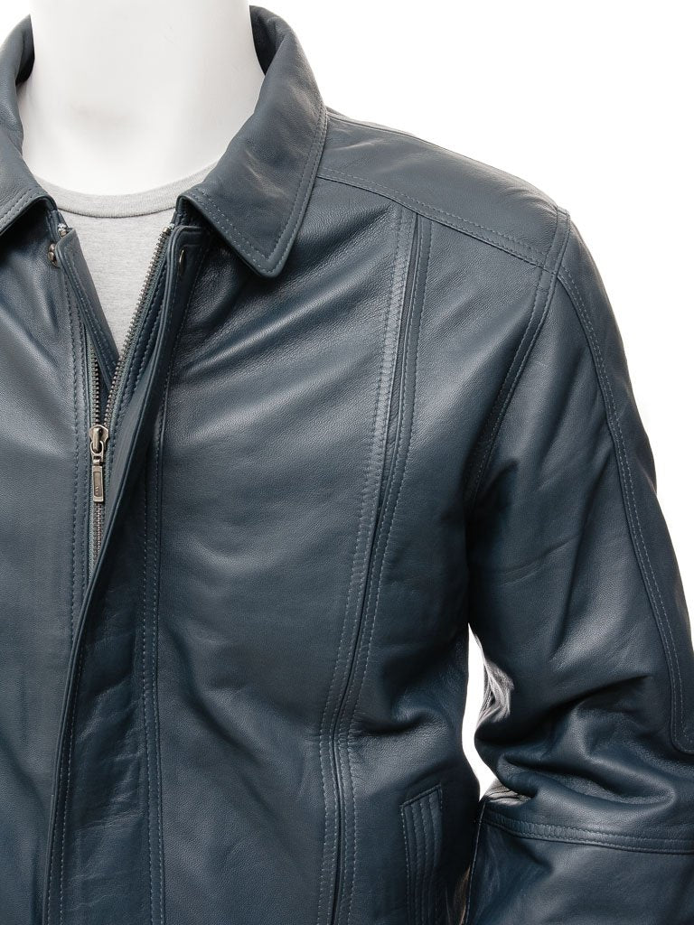 Men's Classic Leather Bomber Aviator Jacket