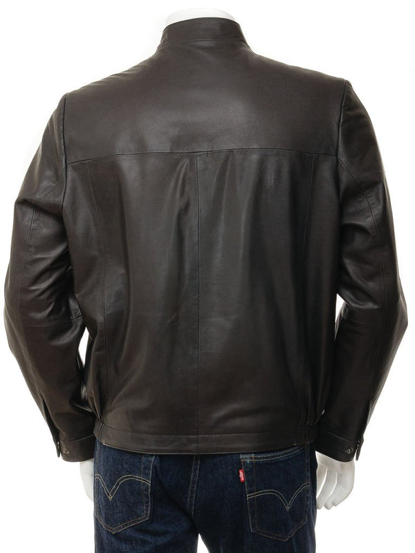 Men's Single Collar Straight Slim Leather Jacket