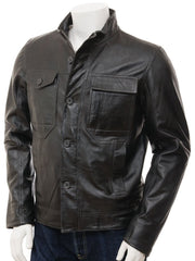 Men's Long Sleeve Black Leather Shirt