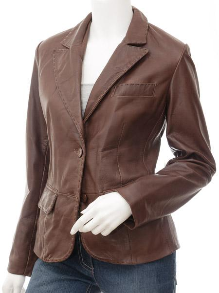 Women's Slim Casual Leather 2 Button Country Western Blazer