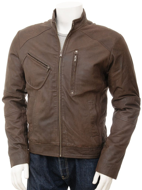 Brown leather mens shirt jacket