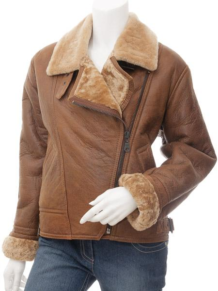 Women's Tan Sheepskin Leather Aviator Flight Jacket