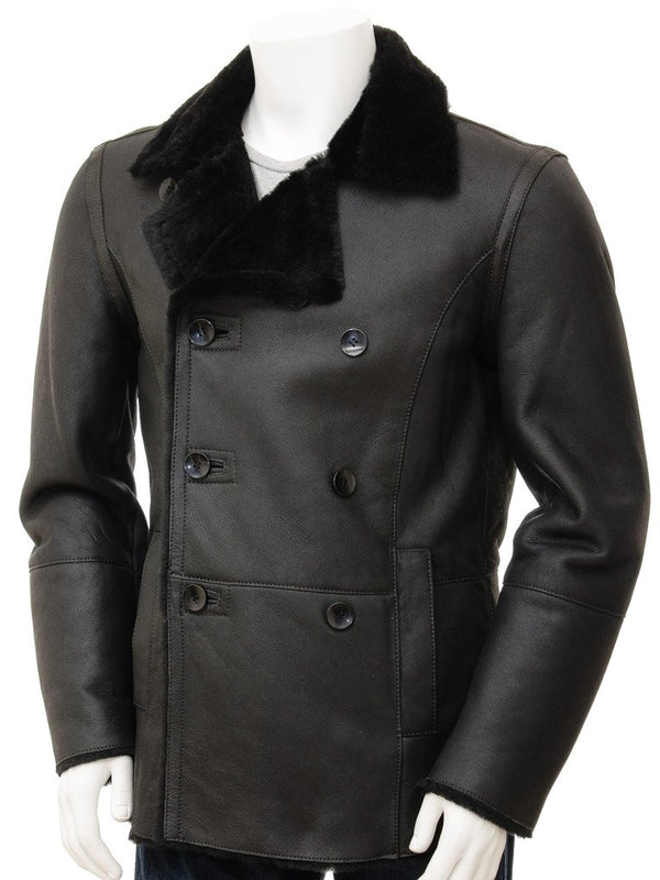 Men's Sheepskin Double Breasted Leather Black Pea Coat