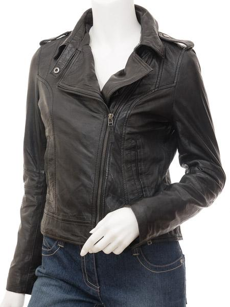 Women's Durable Cowhide Leather Biker Jacket