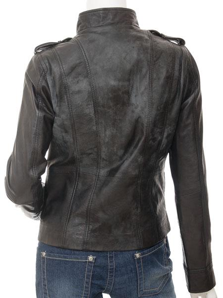 Women's Short Single Collar Leather Jacket