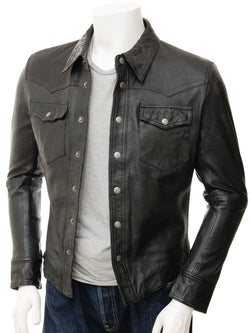 Men's Leather Motorcycle Western Long Sleeve Shirt