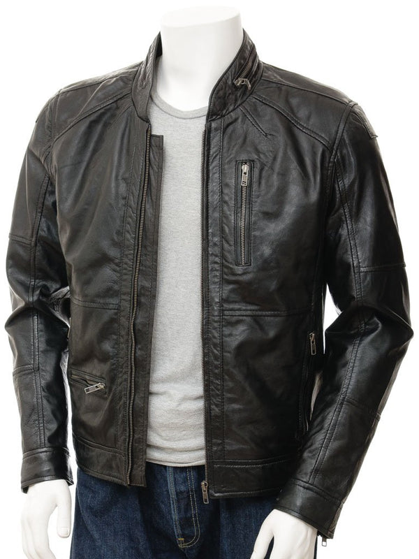Men's Soft Leather Moto Biker Jacket