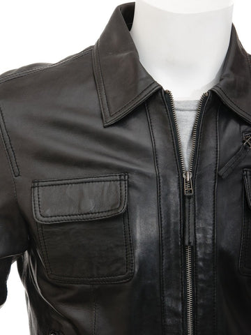Men's Leather Bomber Jacket Western Shirt