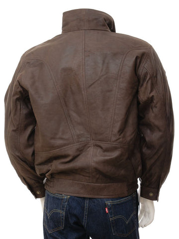 Men's Brown Leather Flight A2 Aviator Jacket