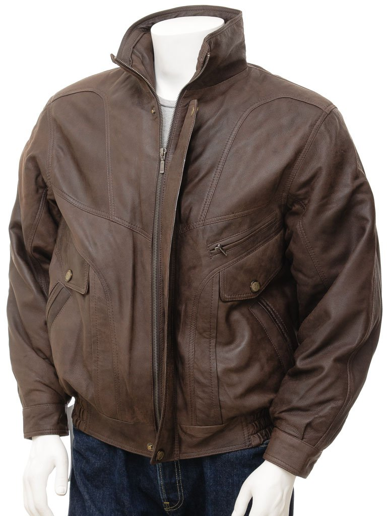 Brown Aviator Flight Bomber Jacket