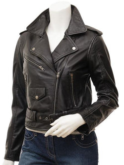 Women's Black Classic Leather Motorcycle Jacket
