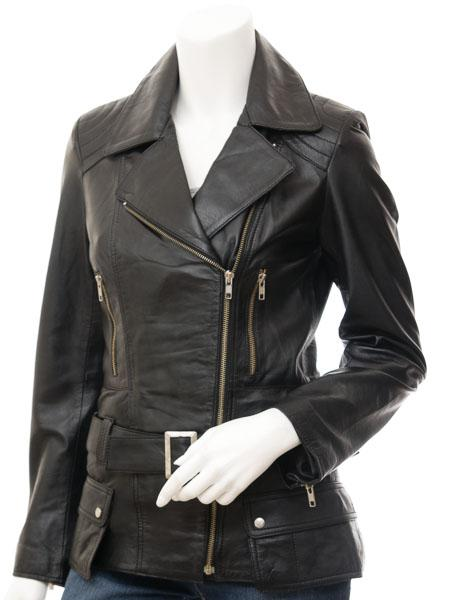 Women's Leather Motorcycle 7/8  Coat
