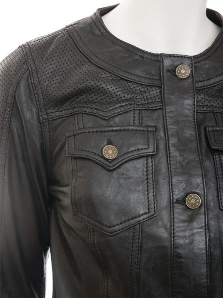 Women's Leather Motorcycle Jacket Shirt Long Sleeve