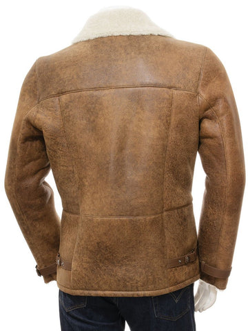 Men's Sheepskin Leather Biker Moto Jacket