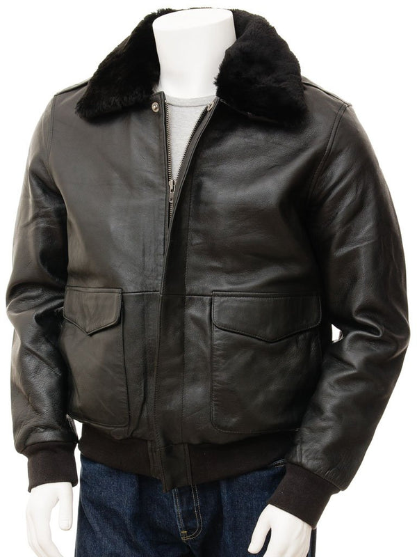 Mens Leather Aviator Flight Jacket Fur