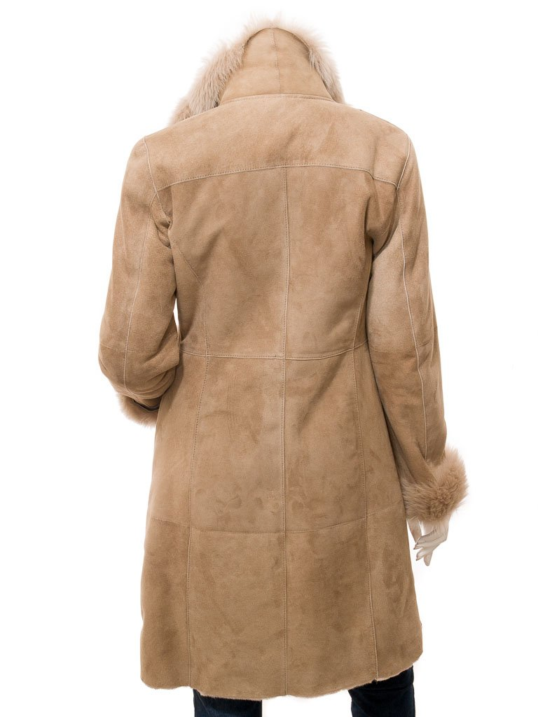 Women's Sheepskin Beige Leather 7/8 Long Coat