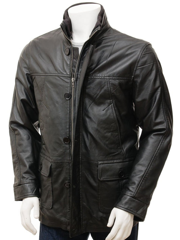 Men's Button Zipper 3/4 Leather Car Coat
