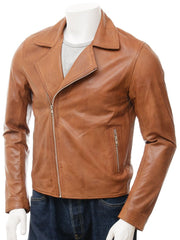 Men's Slim Leather Simple Tan Moto Biker Jacket