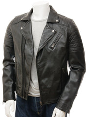 Men's Quilted Leather Biker Moto Jacket