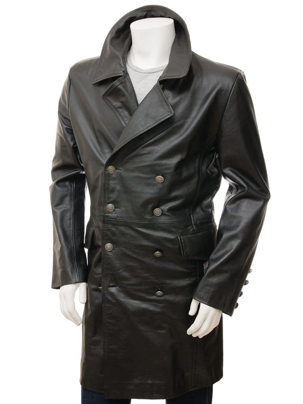 Men's Soft Leather Double Breasted Black Military Long Coat