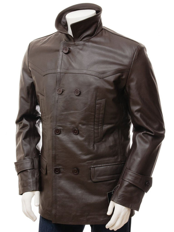 Men's Lambskin Leather Double Breasted Pea 7/8 Coat
