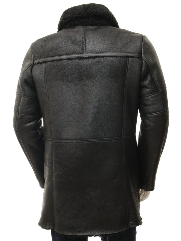 Men's Sheepskin Black Leather 7/8 Pea Coat