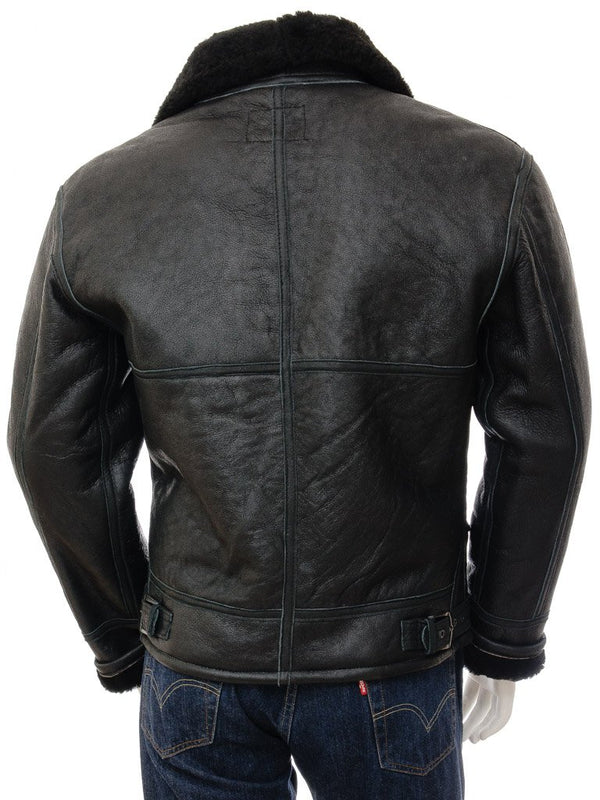 Men's Sheepskin Leather Aviator Bomber Flight Jacket Fur Collar