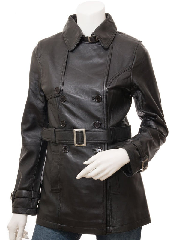 Women's Classy Belted Leather Mid-Length Coat