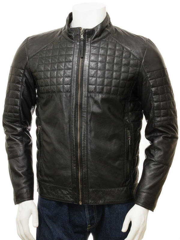 collarless leather quilted biker jacket moto