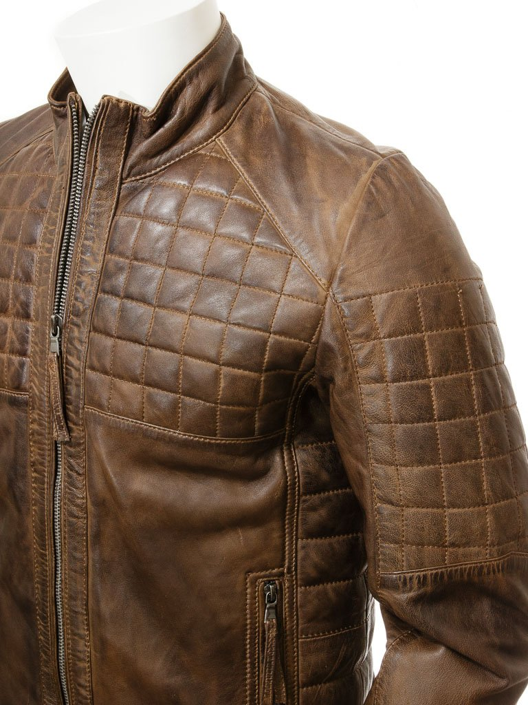 Men's Collarless Quilted Leather Biker Jacket