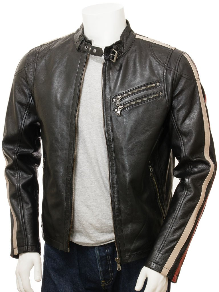 Men's Black Racing Stripes Moto Biker Leather Jacket