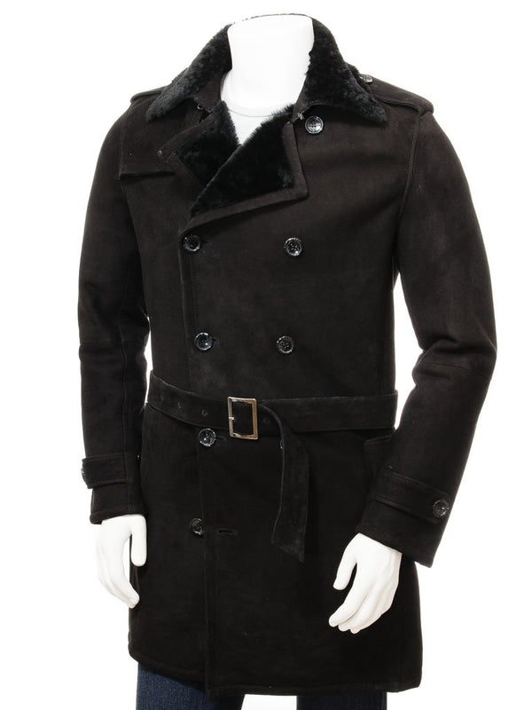 Men's Sheepskin Leather Belted Pea Coat