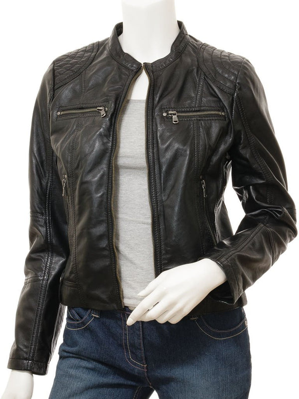 Women's Lambskin Leather Collarless Biker Moto Jacket