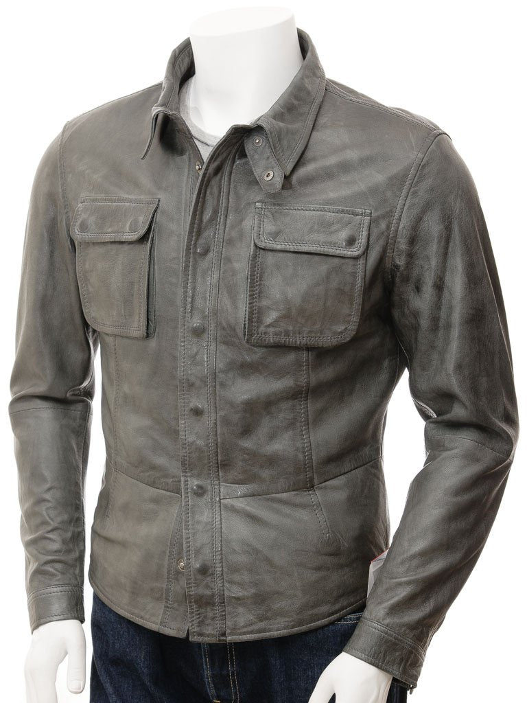 Men's Long Sleeve Leather Shirt